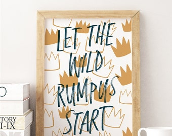 Wall Art Let the Wild Rumpus Start Handlettered Kids Print Gold