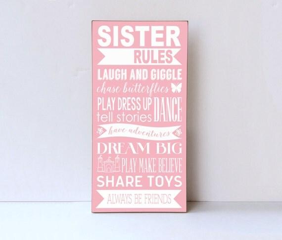 Sister Rules Wood Sign Sister Room Decor Playroom Wall Sign