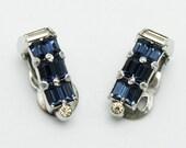 Vintage Mazer Earrings Sapphire Blue