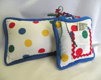 Playful Polka Dot Tooth Fairy Pillow and Lumbar Pillow - Kid's Room Decor - Toy - Circus Theme - Primary Colors