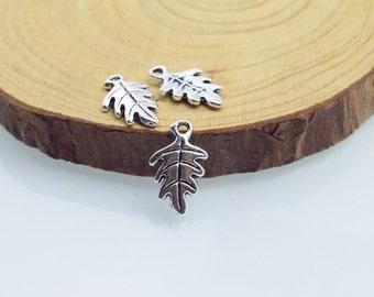 30pcs 9x15mm Antique Silver Acorn Leaf oak nut Leaf Charms Pendant c8423