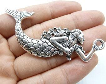 5pcs Mermaid Charms, 32x75mm Antique Silver Mermaid Charms Pendant, sea-maid charms C8245