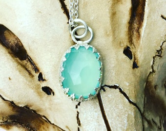 Rose Cut Aqua Chalcedony and Sterling Silver Pendant. Victorian crown pendant with Aqua Chalcedony, Caribbean blue Chalcedony pendant