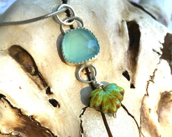 Rose Cut Aqua Chalcedony and Sterling Silver Pendant.  Kauai ocean blue pendant, Caribbean blue Chalcedony leaf pendant sterling