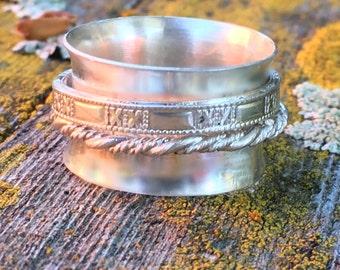 Men's sterling silver wedding ring,  sterling Silver Men's spinner ring, mens worry ring, wide wedding ring, Men's meditation ring