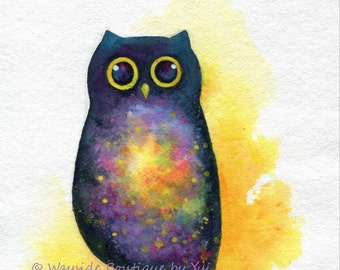 Nebula in owl - ORIGINAL watercolor painting 8x10 inches