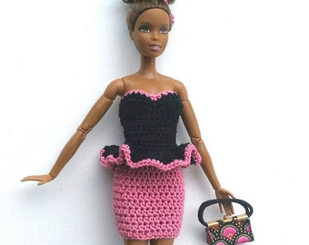 Three-piece Barbie Outfit. Pink and Black Peplum Dress with Purse and Shoes. Handcrafted CUTE Purse. Form Fitting Short Flirty Dress. OOAK