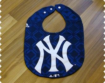New York Yankees Baseball Baby Bib, Recycled T-Shirt Baby Bib, Sports Baby Gift, Baby Shower Gift