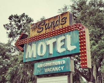 Sands Motel Art Photography Print, Bedroom Decor, Old Neon Sign Art