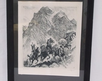 Print of an Etching by R. H. Palenske, Horses Cowboys, Western, Historical, Round Up