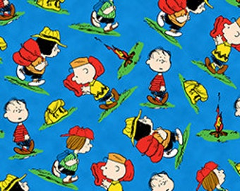 Camp Peanuts Toss Linus Charlie Brown Gear Blue Cotton Fabric By The Half Yard