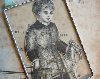 Fiona & The Fig  Victorian 1880-Original Print-Harpers Bazaar Magazine-Child with Horse- Silver Soldered-Mini Sun Catcher - Door Knob Hanger
