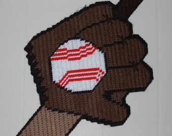 Bat, Ball, and Glove Wall Hanging Plastic Canvas Pattern