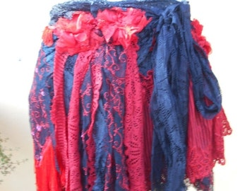 """20% OFF vintage inspired extra shabby gypsy wrap skirt/shawl...a work of art and love...34"""" across"""