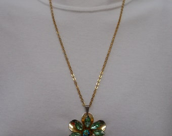 1950s High End Designer Chain Necklace Flower Pendant of Aurora Borealis Clear Crystal and Green Rhinestone 28 inch Estate FREE SHIPPING
