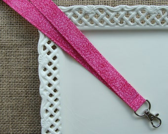 Fabric Lanyard - Petite Flowers on Fuscia