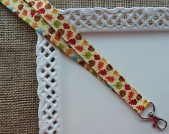 Fabric Lanyard - Bold Fall Leaves and Acorns