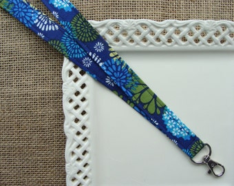Fabric Lanyard - Medallions on Royal Blue # 10