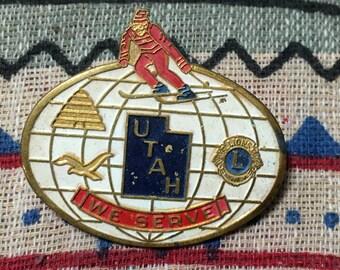 Old Brass and Enamel Utah We Serve Ski Jacket Pin