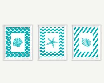 Seashell Art , Teal Beach Decor, Sea shell Prints, Beach Wall Art, Sea shells home decor, Seashells Starfish Print Set of 3