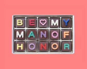 Will You Be My Man of Honor Gift Box of Chocolate Message Proposal Ask Man of Honor Wedding Invitation for Him Unique Idea Jelly Beans Cube