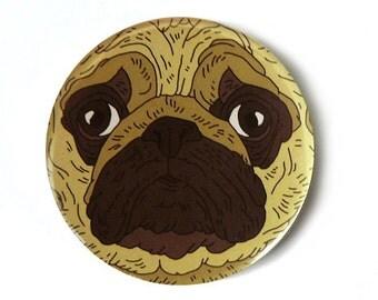 pug button pins illustration