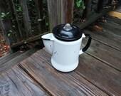 On Sale Vintage Enamel Coffee Pot With Parts White Black Cottage Farmhouse Decor Camp Decor