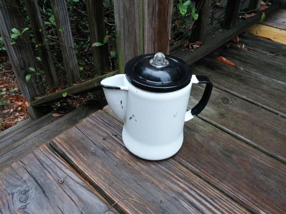 Vintage Enamel Coffee Pot With Parts White Black Cottage Farmhouse Decor Camp Decor