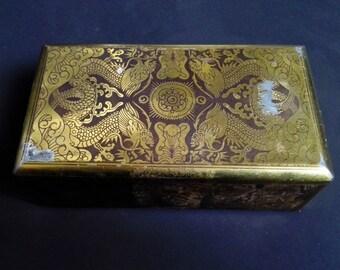 SALE Antique Asian Art Deco Tin Box Trinket Candy Dragon Gold Ornate Swedish 1930s 40s