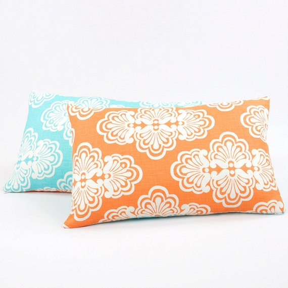"Orange Aqua Reversible Pillow Cover 12x20"", Lilly Pulitzer Bedding Pillow, Floral Pattern, Blue Orange Long Cushion, Tangerine Twist"