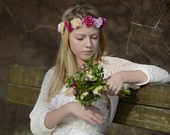 Bolero - knitted lace bolero, Wedding clothing, romantic wedding bolero, champagne bolero