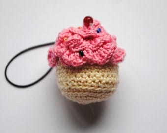 Crochet Cupcake Cell Phone Charm