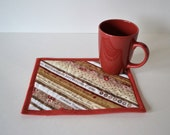 Quilted Mug Rug, upcycled selvage cotton coaster, selvedge, tan rust decor