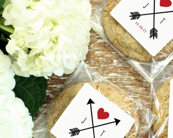 24 Personalized Cellophane Cookie Bags, Candy Bags - Arrow Wedding Label - ANY COLOR - Arrow Wedding Favor, Arrow Bridal Shower Favor