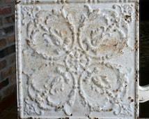 "Genuine Antique Ceiling Tile -- 12"" x 12"" -- Rusty Light Gray Paint -- Pretty Victorian Design"
