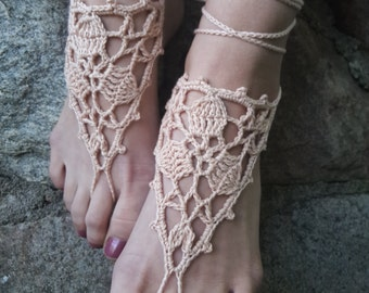 CLEARANCE Barefoot Sandals, Nude shoes, Foot Jewelry, Wedding, Victorian Lace, Sexy, Anklet , Bellydance,Beach Footwear
