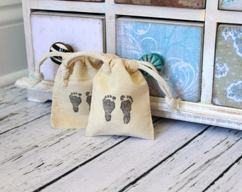 RESERVED for Dana -  Cotton Drawstring Muslin Favor Bags & Tags - Baby Foot Prints