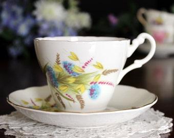 Vintage Teacup, Tea Cup and Saucer, Royal Ascot, English Bone China, Wheat Motif 13615
