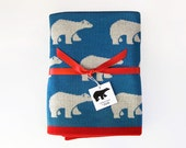 Baby Blanket Pure Merino Wool · Blue Throw Blanket · Polar bears print · Supersoft and lightweight blanket