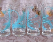 Custom listing for SHERI Vintage set of 6 turquoise and gold thistle tumblers.  B378-3