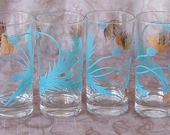 Vintage set of 6 turquoise and gold thistle tumblers.  B378-3