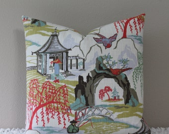 "BOTH SIDES - Robert Allen Neo Toile Chinoiserie Print in Coral - 16"" - 24"" Square Decorative Designer Pillow Cover"
