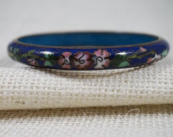 Blue Asian Cloisonne Bangle with Clouds and Flowers