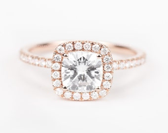 CERTIFIED - Colorless Forever ONE Cushion Moissanite & Diamond Engagement Ring 14K Rose Gold
