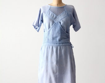 FREE SHIP  80s mesh cotton dress, vintage blue beach dress