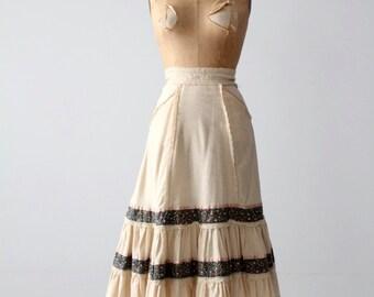 vintage 70s Jessica's Gunnies skirt, boho prairie skirt Gunne Sax
