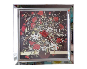 1940s-50s Art Deco square mirrored frame