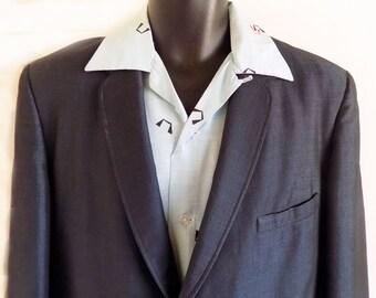 1950s Sharkskin Suit / RnR / Jive / Atomic / Mid-century / Blue / metal Zipper /Kraus / Rare