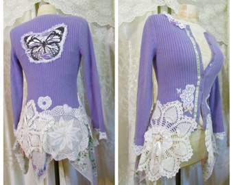 Butterfly Lilac Sweater,  crocheted doiles white lace embellish, romantic feminine cardigan, altered clothing womens clothing, XS SMALL