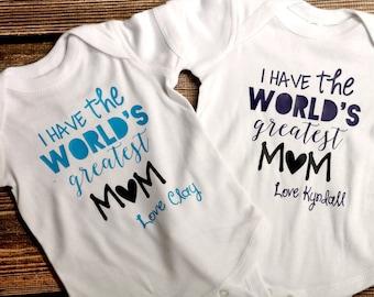 Worlds Greatest Mom Onesie - Baby Shower Gift